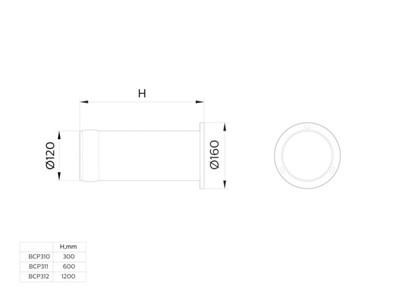 BCP310 LED760/WW 15W 100-240V Cyl BK  UNIBollard BCP31
